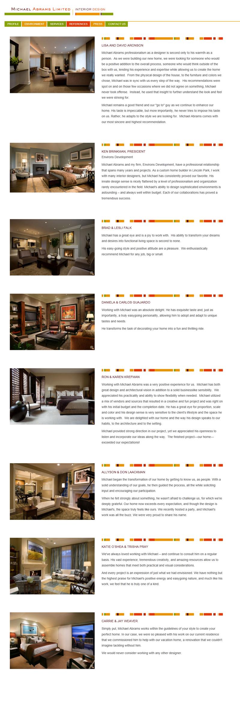 Michael abrams limited interior design website for Interior design sites