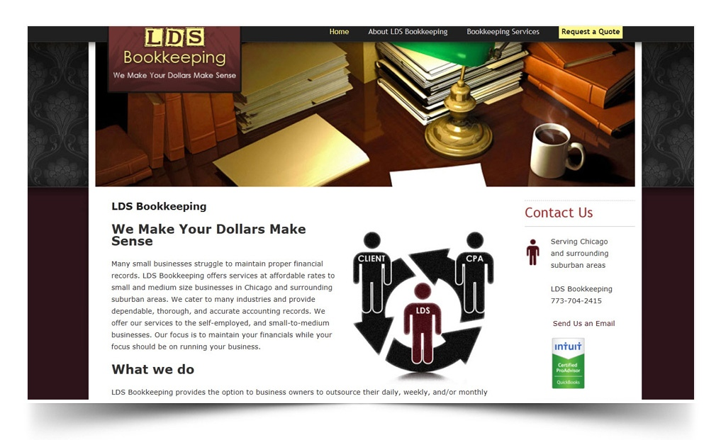 lds bookkeeping | small business website